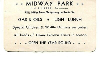 Gettysburg,PA- Midway Park- lunch-gas-oil-J Slusser prop- adv cd