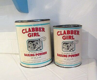 Huge Vtg Clabber Girl Baking Powder Tin Container 5 & 10 Lbs Advertizing Lot