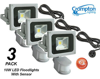 3 x Crompton 10W LED Outdoor Security Floodlights - Motion Sensor, Cord & Plug