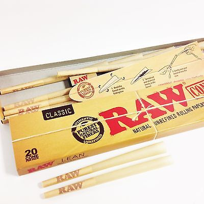1 Box Raw Lean Pre-Rolled Cones 20 Per Box 110mm, Tip is 40mm & Free Cone Filler