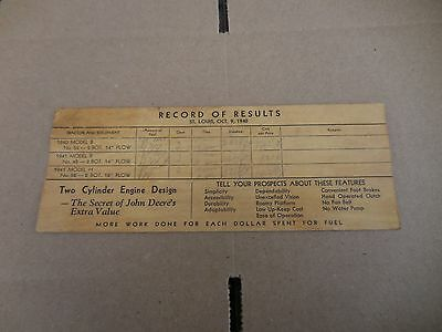 Vtg 1940 John Deere Tractor Record of Results Paper Tractor Comparison Chart