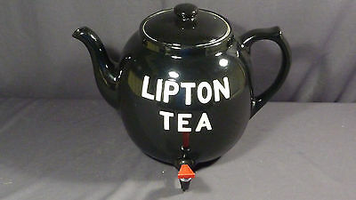 Vintage 1930's Large Black Lipton Iced Tea Display Teapot by Hall w/ Lid