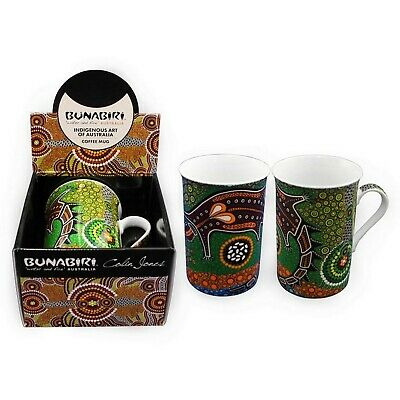 Australian Aboriginal Art Fine Bone China Mug Cup Bunabiri - Crocodile Dreaming