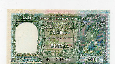 1938 Burma Reserve Bank Of India Unc 10 Rupees Note George Vi P#5 A33 134922