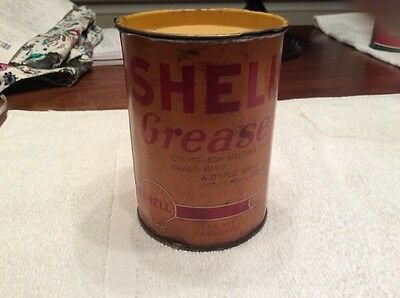 Vintage Shell Rare 1pound Grease Can Nice Seems To Be Full