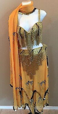 NEW Egyptian Professional Gold & Black Bellydance Costume Complete Set Size M/L