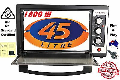 45L 1800W Convection Rotisserie BBQ Roaster Bake Family Electric Tabletop Oven