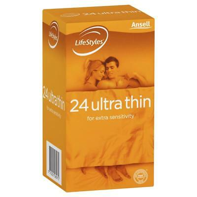 * Ansell Lifestyles 24 Ultra Thin Condoms For Extra Sensitivity Lubricated
