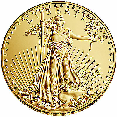 2016 1/10 troy oz. .999 Fine American Gold Eagle $5 coin, BU, Save $1 on 2 coins