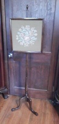 """Vintage Carved Mahogany Wood Square Floral Needlework Fireplace Screen 59"""" H"""