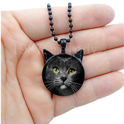 Photo Cabochon Glass Silver/Black Necklace(cute Gray cat)with ears pendant