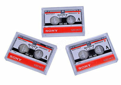 Microcassette Blank Cassette Tape Disc 60 min 3 pcs Tapes for Sony MC-60 MC60