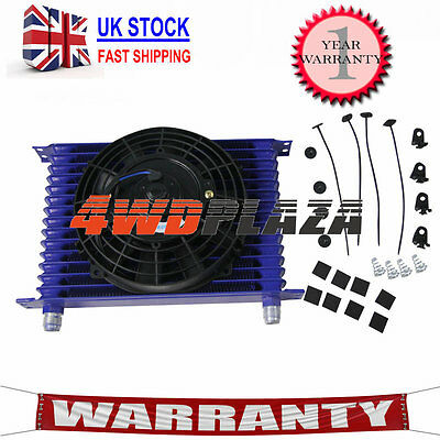 """BLUE 15Row 10AN Racing engine Transmission Oil Cooler +7"""" Electric Fan Universal"""