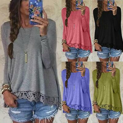 UK Womens Long Sleeve Blouse Lace T Shirt Ladies Casual Loose Fashion Tops 6-14