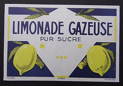 Ancienne étiquette LIMONADE GAZEUSE pur sucre citron french label