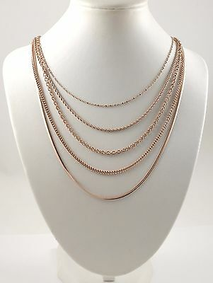 Mixed Men & Women Rose Gold-plated Stainless Steel Chains 16''-24'' UK Seller