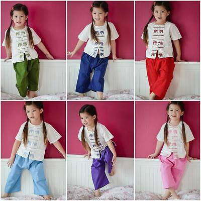 Thai Traditional Cute Kid Boy Girl Top Pants Dress Party Cotton Festival Outfit