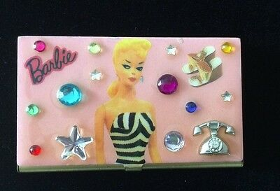 Barbie Gold and Pink Bejeweled Vintage Collectible Business Card Case 1993