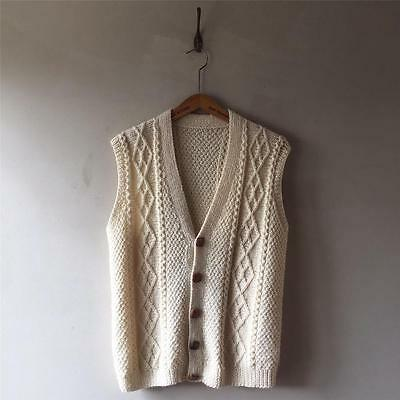 """Vintage 1920s/30s/40s/60s Cable Knit Aran Wool Tank Top Sweater Jumper M 40"""""""