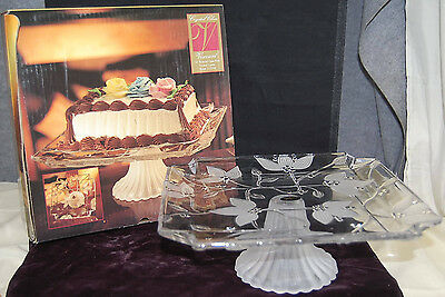 Floral Crystal Clear Studios Frosted Crystal 12'' Pedestal Cake Plate [S7171]