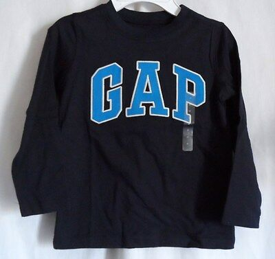 Boys 5 Navy Color L/s Shirt Gap In Large Blue & White Letters Nwt ~ Gap