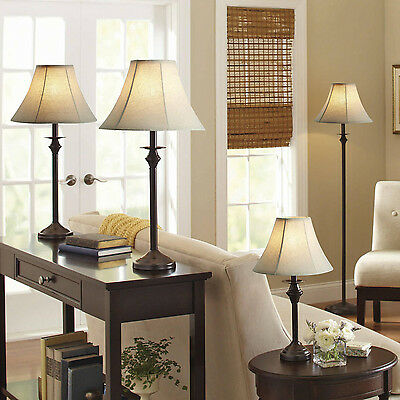 Table Floor Accent Classic Lamp Set Of 4 Home Decor Bedroom Light Dark Brown New