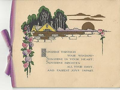 Art Deco Flowers & House Birthday  Card  With Lilac Bow