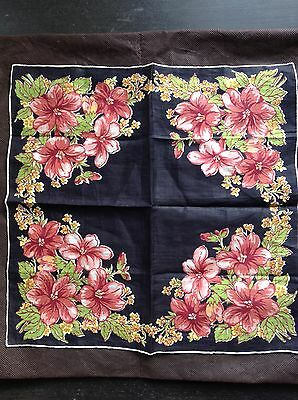 Vintage floral hankie with pink and terra cotta colors on black