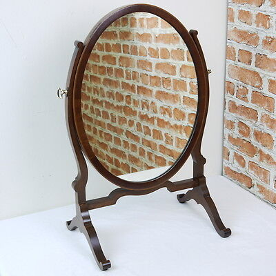 Antique Original Edwardian Mahogany Oval Inlaid Dressing Table / Toilet Mirror