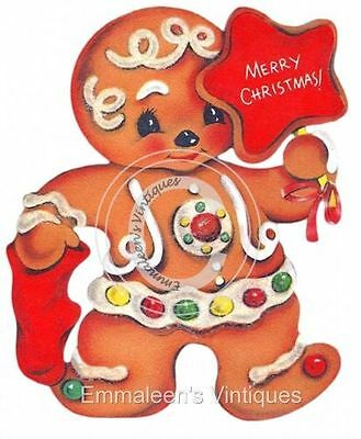 Vintage Image Retro Gingerbread Man Candy Cane Waterslide Decals CHR211