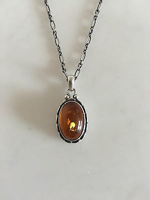 Georg Jensen Annual Pendent in Sterling Silver with Amber Stone 2001
