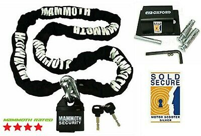 Motorcycle Mammoth Locmam 1.8M Chain Lock & Sold Secure Bruteforce Ground Anchor