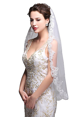 Bridal Veil With Comb Ivory Lace Applique Wedding Short Veils Hair Accessories
