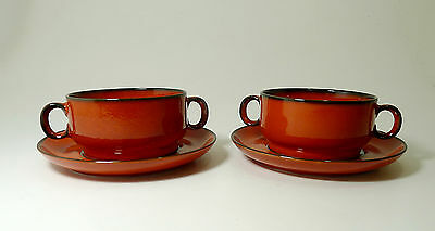 2 x Suppentasse Suppenteller THOMAS Germany rot 70er PopArt mit Unterteller