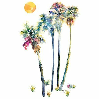 "RoomMates RMK2782GM Watercolor Palm Trees Peel & Stick Giant Wall Decals, 23"" x"