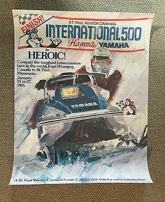 Vintage Hamm's Beer Advertising Poster Snowmobile Stop Official Rare  Print