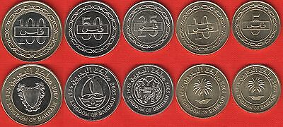 Bahrain set of 5 coins: 5 - 100 fils 2005-2007 UNC