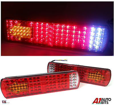 2x 24V LED REAR TAIL LIGHTS LAMPS 5 FUNCTION TRAILER LORRY TRUCK RECOVERY 84 LED