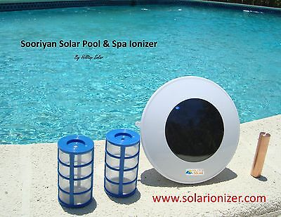 Solar chlorine free pool ionizer purifier with LED ionization indicator