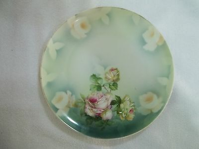Antique Hand Painted M.Z. Austria Plate Large Yellow & Pink Roses