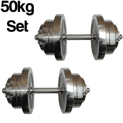 Fxr Sports Adjustable 50Kg Chrome Dumbbell Set Free Weights Fitness Dumbbells