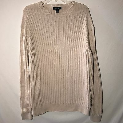 Nautica Ivory Ribbed Knit Crew Neck Long Sleeve Sweater Men's Size L Large