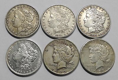 Lot of 6 Morgan and Peace Silver Dollar $1 Key Date Better Grade ONE DAY