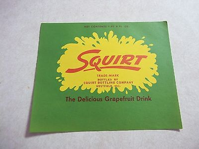 Awesome Vintage SQUIRT SODA POP BOTTLE LABEL Westfield Wisconsin Wi. Grapefruit