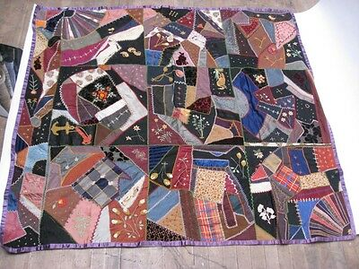 "Antique Vintage CRAZY QUILT Measures 60"" X 55"""