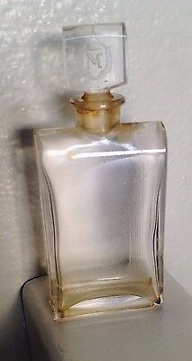 Vintage Molinard Perfume Parfum Clear bottle Etched - Made In France Empty