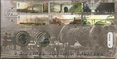 I K Brunel 1806-1859 Engineer Coin FDC Royal Mint Official cover C08