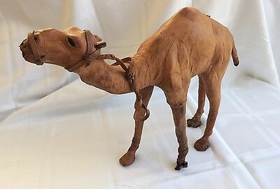 Vtg. Hand Stretched Leather Camel W/Glass Eyes, Desert Chic