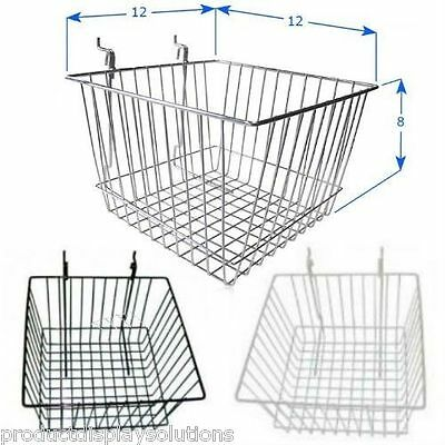 Case of 6 | Grid Gridwall Baskets 12 x 12 x 8 | BLACK WHITE or CHROME