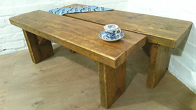 x2 6ft X-Wide Vintage Rustic Reclaimed Solid Pine Dining Plank Table Chair BENCH